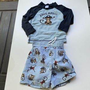 Gymboree Baby Rash Guard and Swimsuit Trunks.